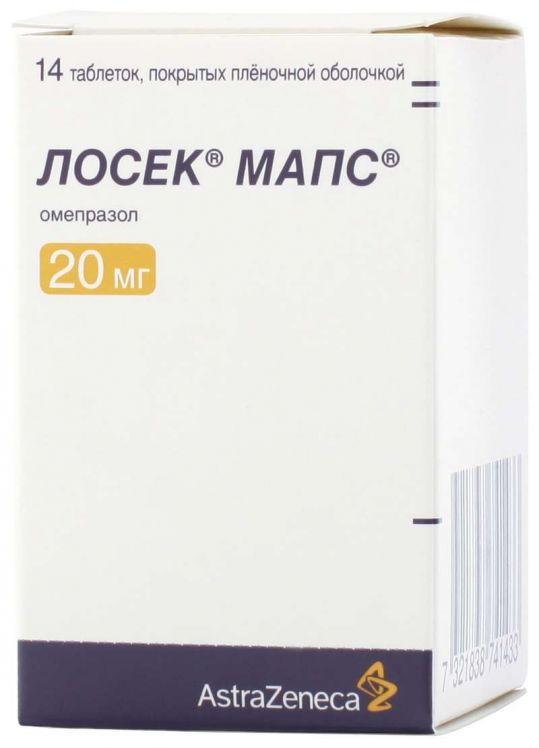 Лосек мапс 20мг 14 шт. таблетки покрытые пленочной оболочкой, фото №1
