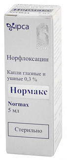 Нормакс 0,3% 5мл капли глазные/ушные