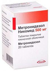 Метронидазол никомед 500мг 20 шт. таблетки покрытые пленочной оболочкой