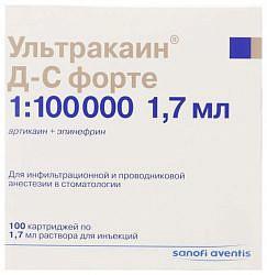 Ультракаин дс форте 1,7мл 100 шт. раствор для инъекций картридж