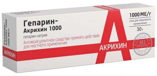 Гепарин-акрихин 1000 30г гель для наружного применения, фото №1