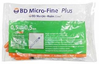 Бектон дикинсон микро-файн плюс шприц инсулиновый 0,5мл u-100 с иглой 30g (0,3х8мм) 10 шт.