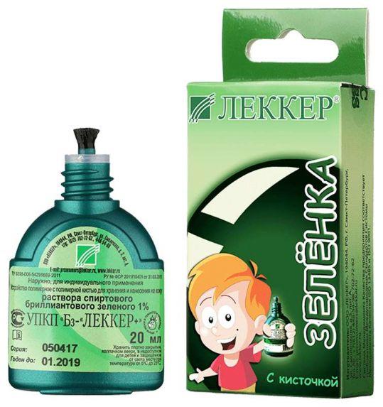 Леккер бриллиантовый зеленый раствор спиртовой 20мл флакон с кистью, фото №1