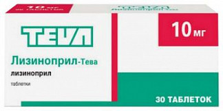 Лизиноприл-тева 10мг 30 шт. таблетки