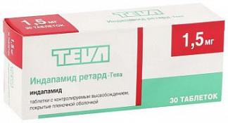 Индапамид ретард-тева 1,5мг 30 шт. таблетки с контролируемым высвобождением, покрытые пленочной оболочкой