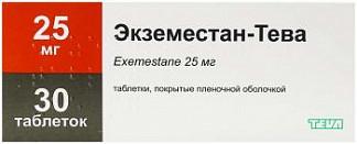 Эксеместан-тева 25мг 30 шт. таблетки покрытые пленочной оболочкой