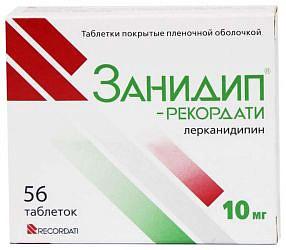 Занидип рекордати 10мг 56 шт. таблетки покрытые пленочной оболочкой recordati industria chimica & farmaceuti