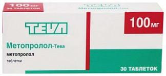 Метопролол-тева 100мг 30 шт. таблетки