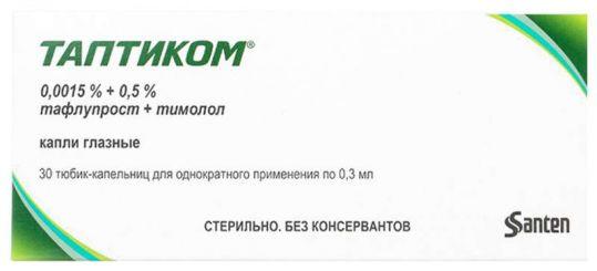 Таптиком 0,0015%+0,5% 0,3мл 30 шт. капли глазные, фото №1