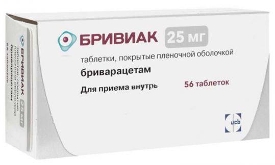 Бривиак 25мг 56 шт. таблетки покрытые пленочной оболочкой, фото №1