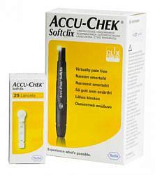 Устройство для прокалывания кожи акку-чек софткликс, набор: 1 устройство и 25 ланцетов