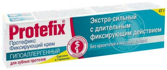 Протефикс крем фиксирующий для зубных протезов экстра сильный/гипоаллергенный 40мл/47г, фото №1