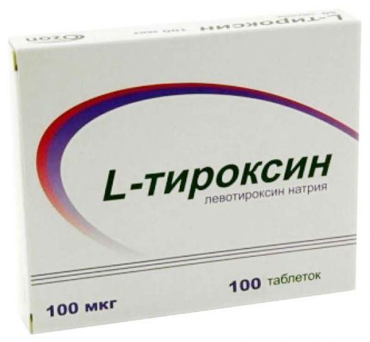 L-тироксин 100мкг 100 шт. таблетки, фото №1