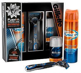 Жиллет фьюжен набор станок+гель для бритья+бальзам после бритья