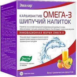 Кардиоактив омега-3 напиток шипучий 7г вкус тропических фруктов 10 шт. саше