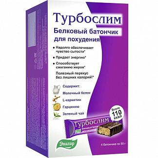 Турбослим батончик для похудения белковый диетический 50г 4 шт. эвалар