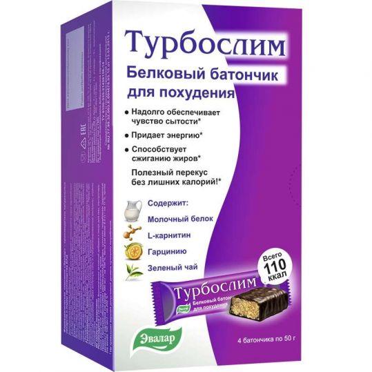 Турбослим батончик для похудения белковый диетический 50г 4 шт. эвалар, фото №1