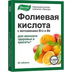 Фолиевая кислота с витаминами в12 и в6 таблетки 40 шт. эвалар