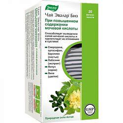 Эвалар био при повышенном содержании мочевой кислоты чай 1,5г 20 шт. фильтр-пакет