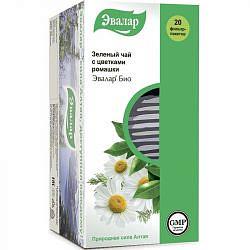 Эвалар био чай зеленый с цветками ромашки 1,5г 20 шт. фильтр-пакет эвалар