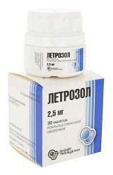 Летрозол 2,5мг 30 шт. таблетки покрытые пленочной оболочкой