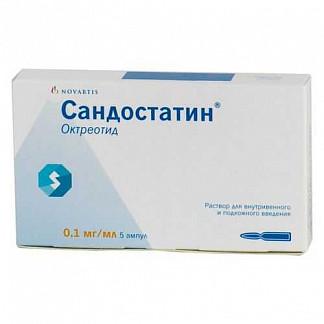 Сандостатин 0,1мг/мл 1мл 5 шт. раствор для внутривенного и подкожного введения