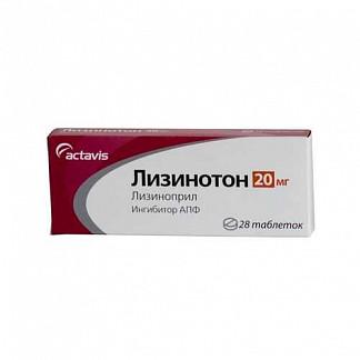 Лизинотон 20мг 28 шт. таблетки actavis group