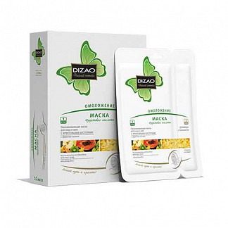 Дизао маска для лица и шеи омолаживающая фруктовые кислоты 2 этапа 10 шт.