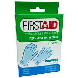 Ферстэйд (firstaid) перчатки смотровые латексные нестерильные опудренные размер m 10 шт.