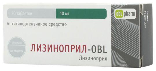 Лизиноприл-obl 10мг 30 шт. таблетки, фото №1