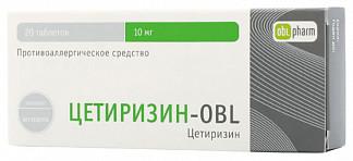 Цетиризин-obl 10мг 20 шт. таблетки покрытые пленочной оболочкой