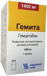 Гемита 1400мг 1 шт. лиофилизат для приготовления раствора для инфузий