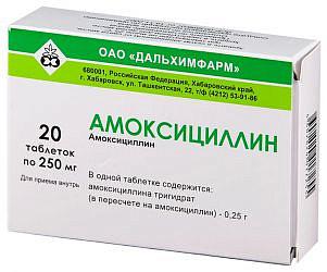 Амоксициллин 250мг 20 шт. таблетки