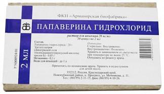 Папаверина гидрохлорид 2% 2мл 10 шт. раствор для инъекций
