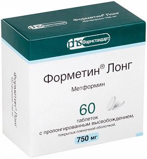 Форметин лонг 750мг 60 шт. таблетки с пролонгированным высвобождением покрытые пленочной оболочкой