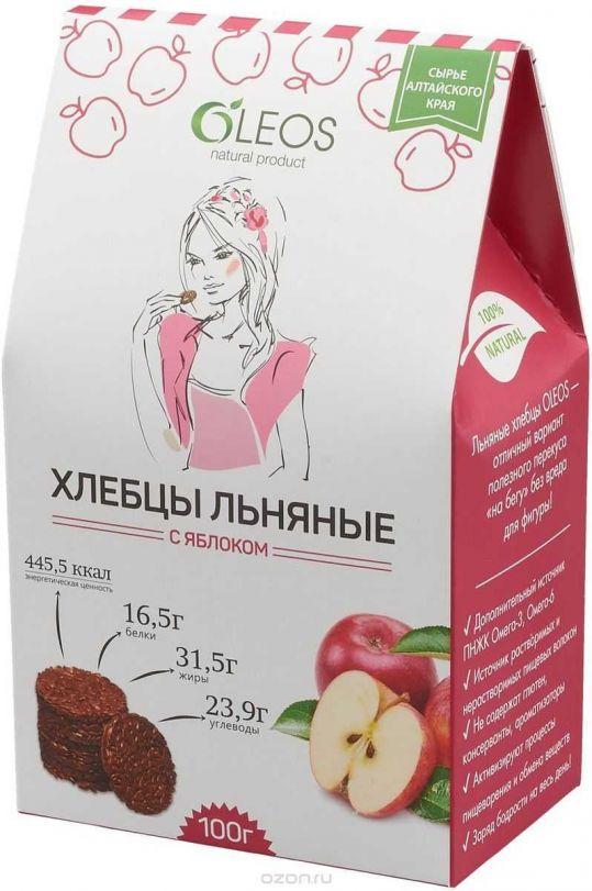 Олеос хлебцы льняные с яблоком 100г, фото №1