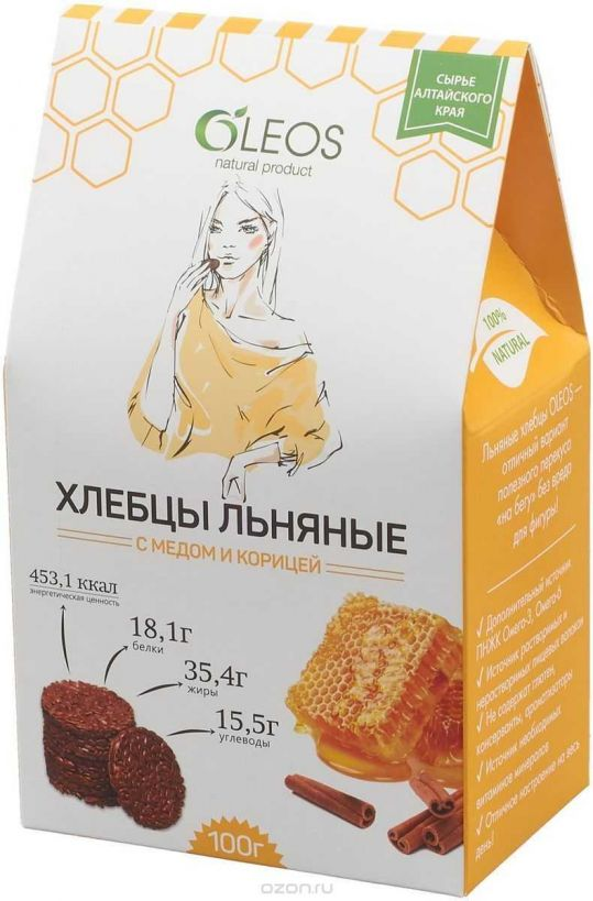 Олеос хлебцы льняные с медом и корицей 100г, фото №1