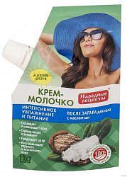 Фитокосметик народные рецепты крем-молочко против загара интенсивное улажнение/питание с маслом ши 50мл