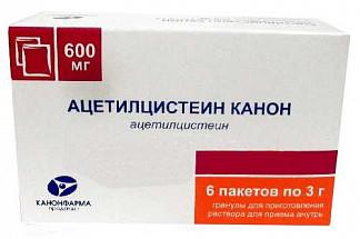 Ацетилцистеин канон 600мг 3г 6 шт. гранулы для приготовления раствора для приема внутрь