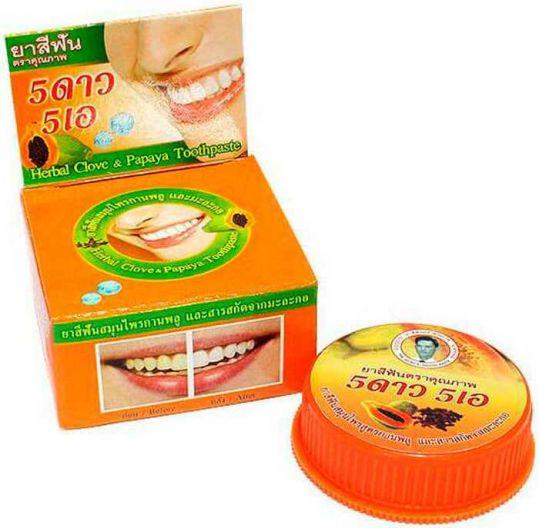 5 стар косметик зубная паста отбеливающая с экстрактом папайи 25г, фото №1