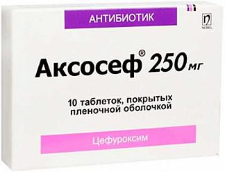 Аксосеф 250мг 10 шт. таблетки покрытые пленочной оболочкой нобел илач санайи ве тиджарет а.ш.