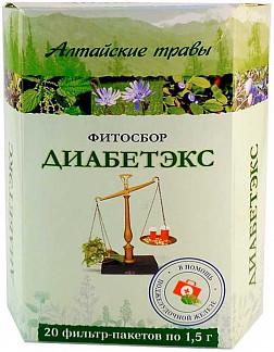 Алтайские травы диабетэкс фитосбор 1,5г 20 шт. фильтр-пакет