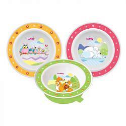Лабби тарелка на присоске веселые животные 6+ арт.13954