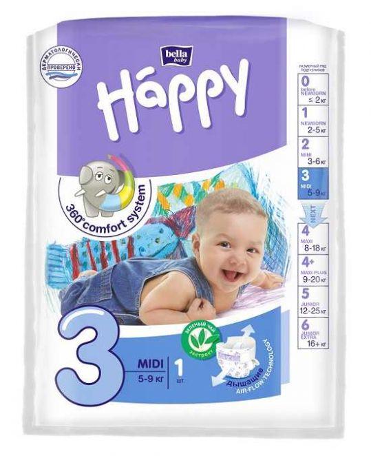Белла беби хеппи подгузники миди 5-9кг 1 шт., фото №1