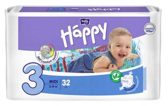 Белла беби хеппи подгузники миди 5-9кг 32 шт., фото №1
