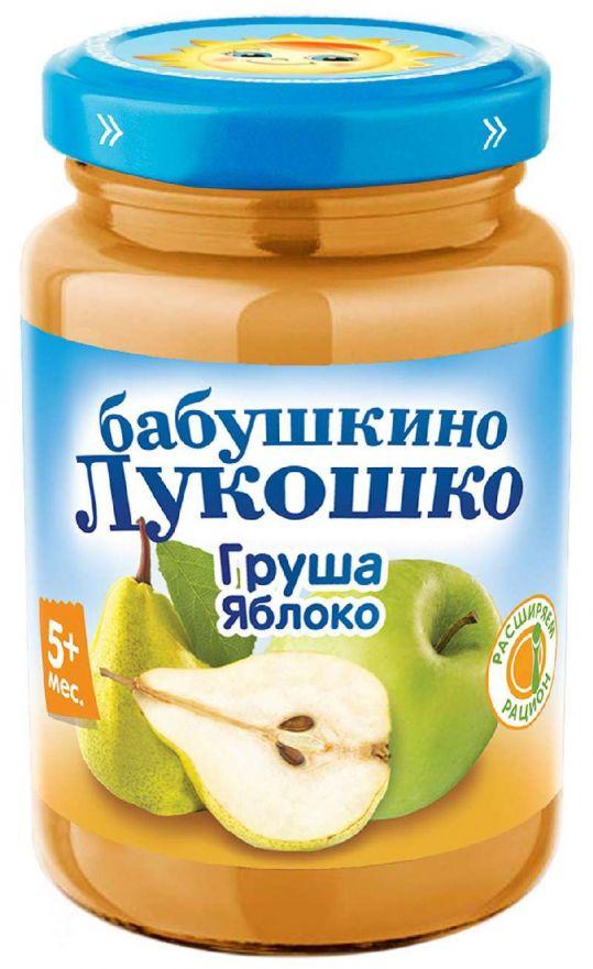 Бабушкино лукошко пюре груша/яблоко без сахара 5+ 200г, фото №1