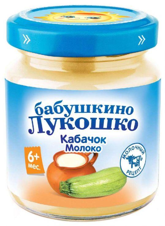 Бабушкино лукошко пюре кабачок/молоко 5+ 100г, фото №1