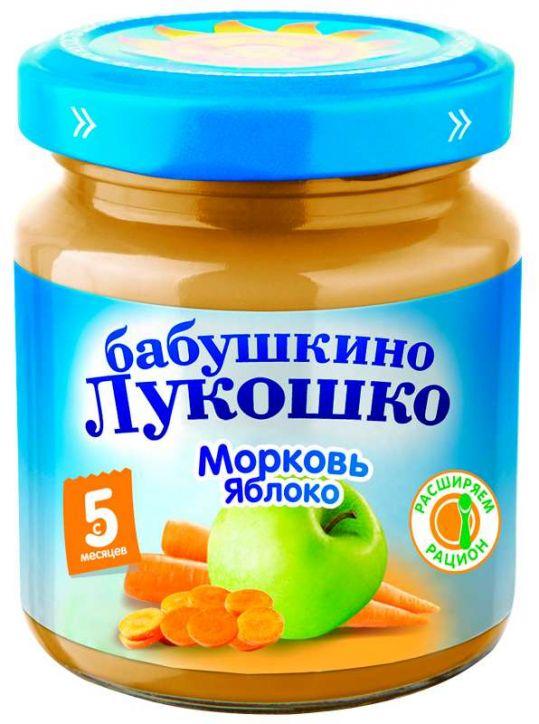Бабушкино лукошко пюре морковь/яблоко 5+ 100г, фото №1