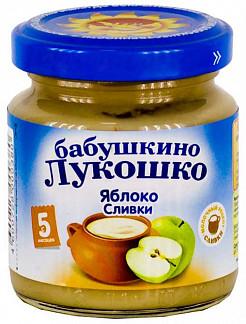 Бабушкино лукошко пюре неженка яблоки/сливки 5+ 100г