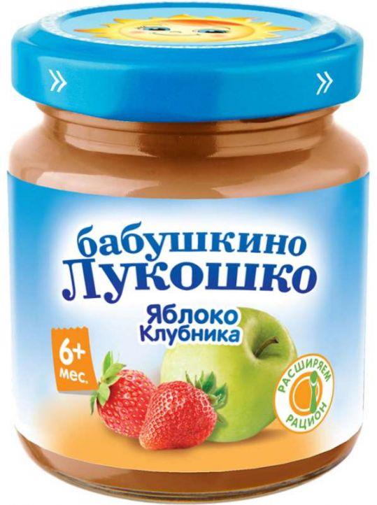 Бабушкино лукошко пюре яблоки/клубника 6+ 100г, фото №1